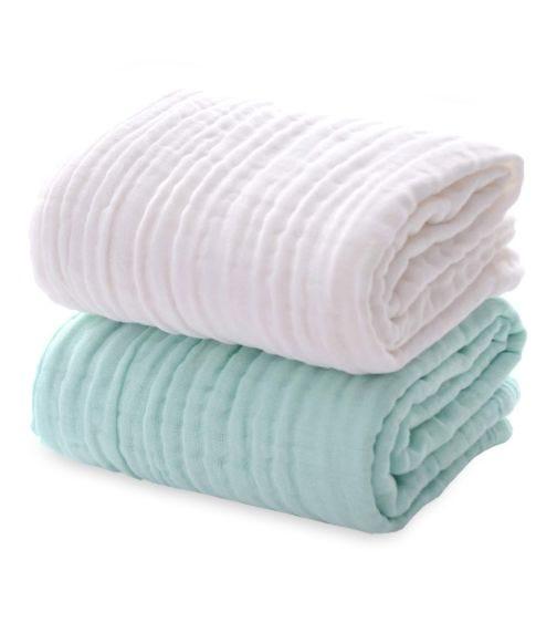ANVI BABY Set Of 2 Organic Muslin Bath Towel - Green & White (105x105CM)