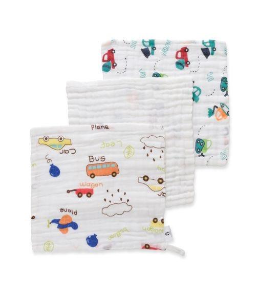 ANVI BABY Set Of 3 Muslin Face & Burp Cloth - 100% Organic Cotton - Automobiles