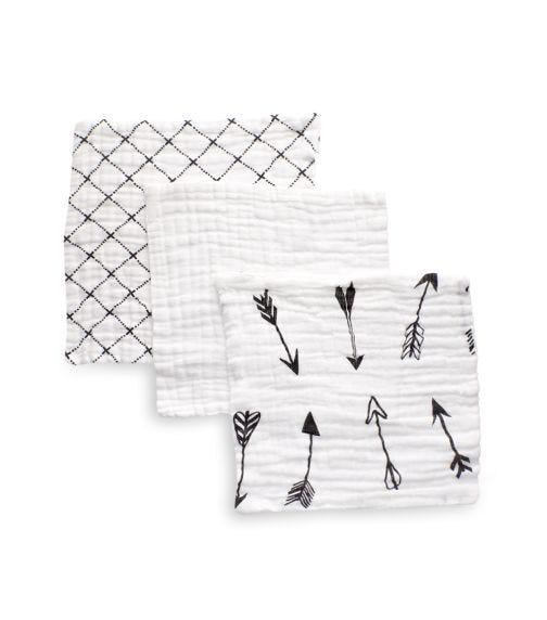 ANVI BABY Set Of 3 Muslin Face & Burp Cloth - 100% Organic Cotton - Keen Arrows