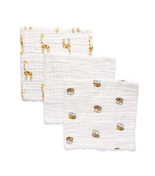 ANVI BABY Set Of 3 Muslin Face & Burp Cloth - 100% Organic Cotton - Yellow Creatures