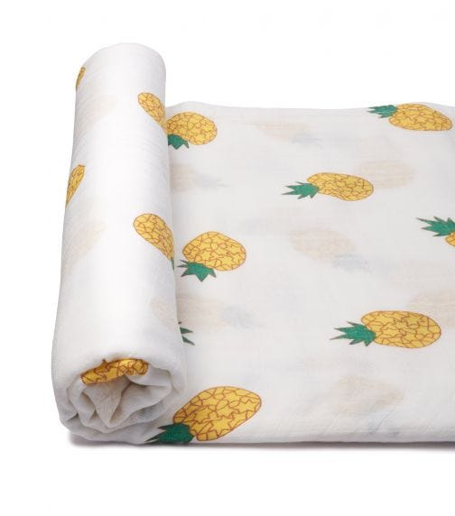 ANVI BABY Organic Bamboo Muslin Swaddle Wrap - Pineapple Party