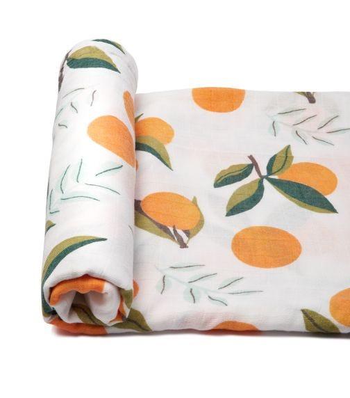 ANVI BABY Organic Bamboo Muslin Swaddle Wrap - Tangerine Heaven