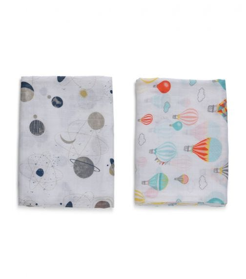 ANVI BABY Set of 2 Organic Bamboo Muslin Swaddle Wrap - Balloons And Planets