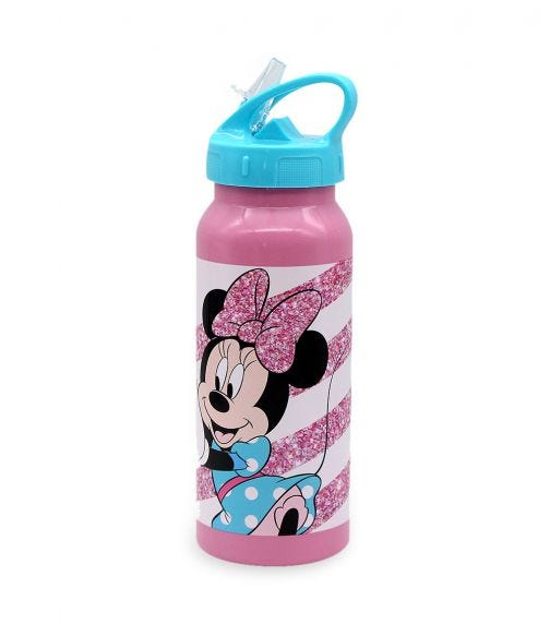 MINNIE Spring Palms Pink Stainless-Steel Water Bottle