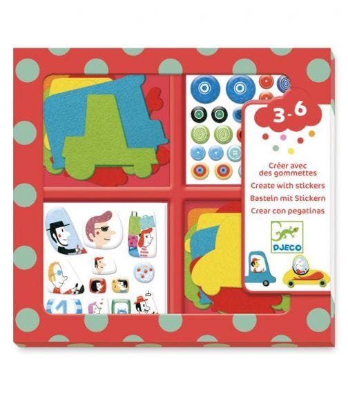 DJECO Create With Stickers Kit - I Love Cars