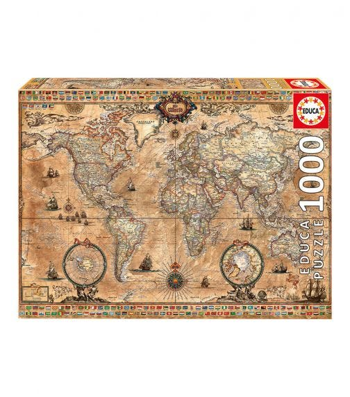 EDUCA Puzzles Antique World Map 1000 Pieces