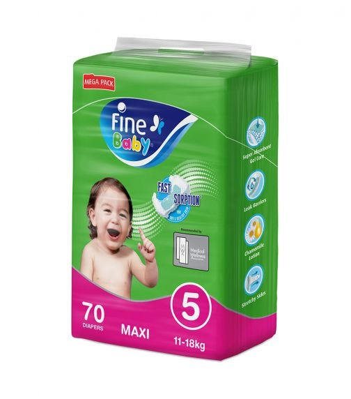 FINE BABY Size 5, Maxi 11-18Kg, Mega Pack Of 70 Diapers