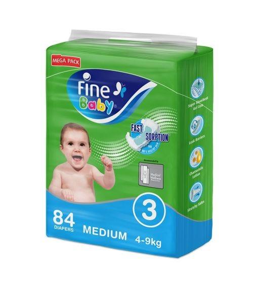 FINE BABY Size 3, Medium 4-9 Kg, Mega Pack Of 84 Diapers