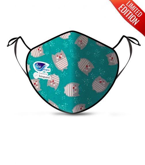 FINE GUARD Kids Face Mask, Reusable Face Mask With Livinguard Technology - Green Limited Edition, Size Small