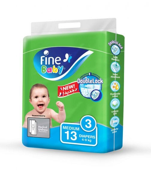 FINE BABY Diapers, Doublelock Technology That Prevents Diaper Leakage, Size 3, Medium 4-9Kg, Travel Pack, 13 Diapers