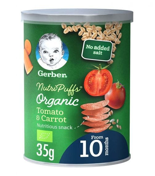 GERBER Organic Nutripuffs Tomato & Carrot 35G
