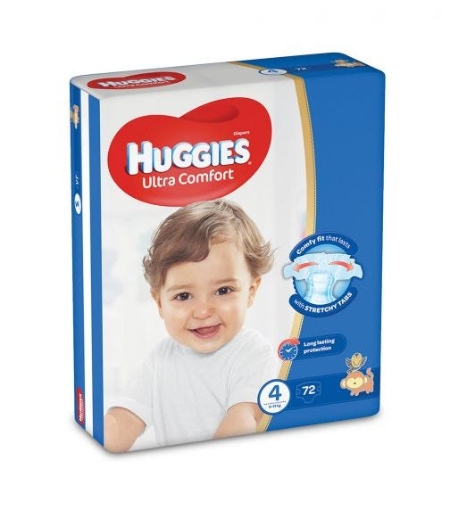 HUGGIES Ultra Comfort Diapers, Size 4, Jumbo Pack, 8-14 Kg
