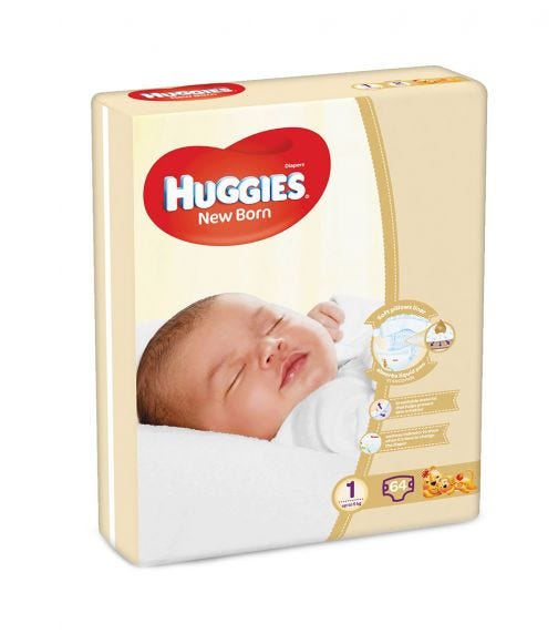HUGGIES New Born Diapers, Size 1,Value Pack, Up to 5 Kg, 64 Diapers
