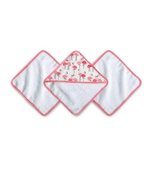 JJ COLE Washcloth Set Pink Flamingos