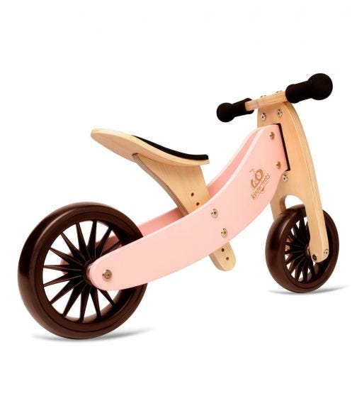 KINDERFEETS 2 In 1 Tiny Tot Plus Tricycle Balance Bike Rose