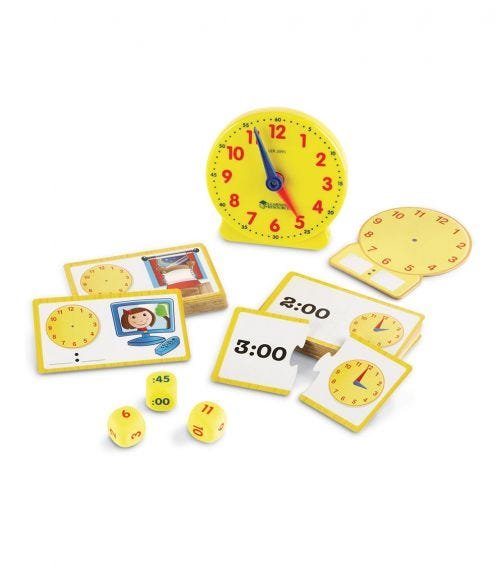 LEARNING RESOURCES Time Activity Set Homeschool Analog Clock