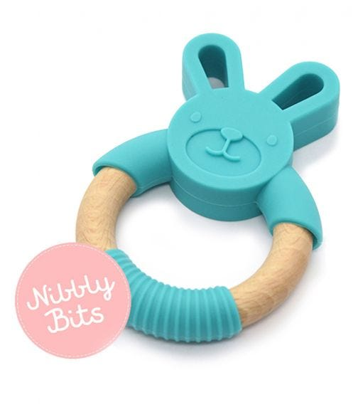 NIBBLY BITS Bunny Teether - Teal