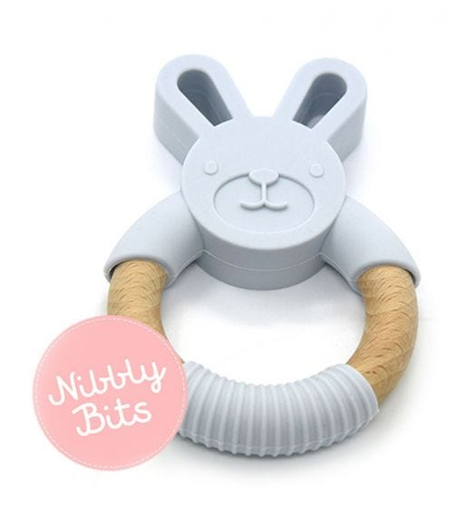 NIBBLY BITS Bunny Teether - Ice Blue