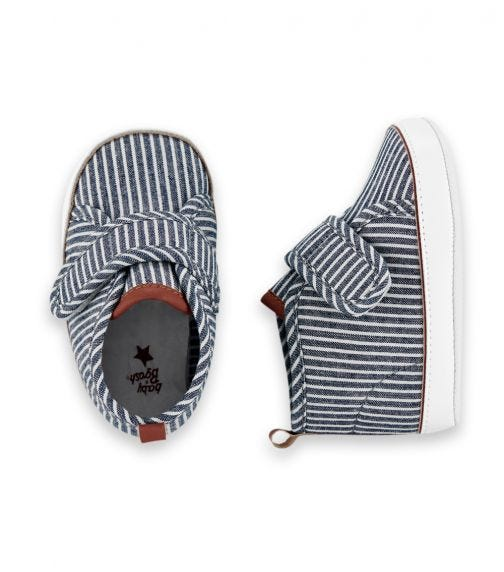 OSHKOSH Hickory Stripes High-Top Crib Shoes