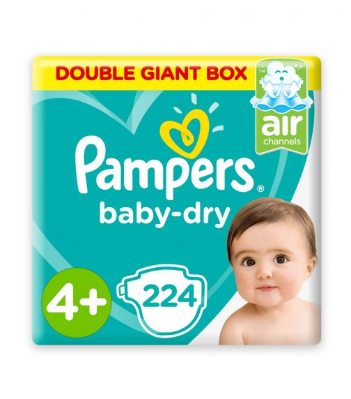 PAMPERS Baby-Dry Diapers, Size 4+, Maxi+