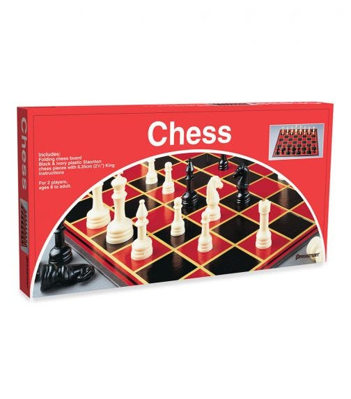 PRESSMAN Chess With Folding Board And Full Size Chess Pieces
