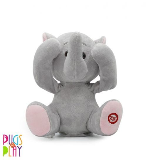 PUGS AT PLAY Peek A Boo Manny Elephant