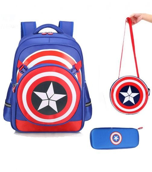 SAMBOX Captain America School Bag With Pencil Case And Lunchbag