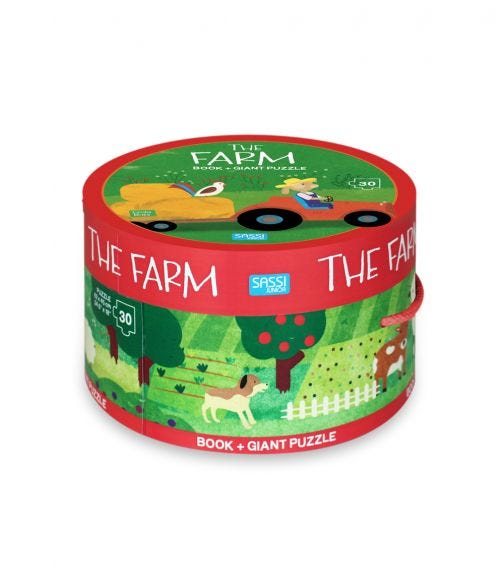 SASSI Book And Giant Puzzle Round Box The Farm