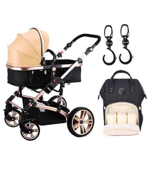TEKNUM 3 In 1 Pram Stroller - Khaki + Sunveno Diaper