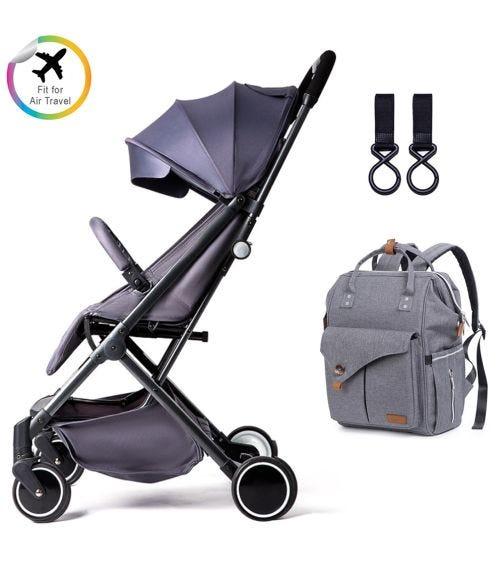 TEKNUM Grey Travel Lite Stroller + Alameda Diaper