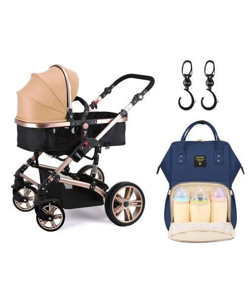 TEKNUM 3 In 1 Stroller - Khaki + Sunveno Diaper Bag + Hooks