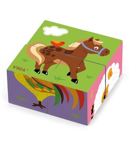 VIGA 6 Side Cube Puzzle Farm Animals (4 Pieces)