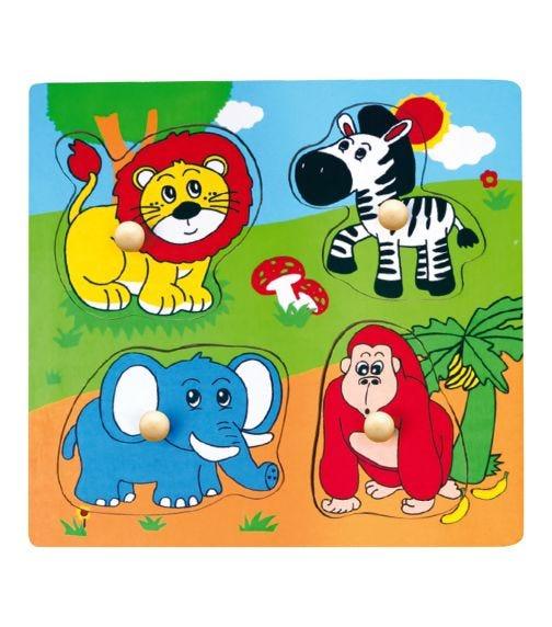 VIGA Wooden Flat Puzzle Wild Animals
