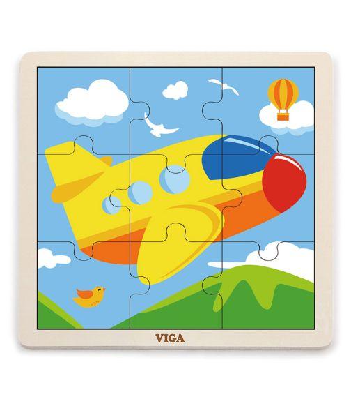 VIGA 9 Pieces Wooden Puzzle Plane