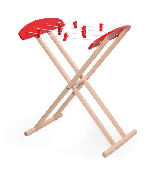 VIGA Wooden Pretend Plau Clothes Drying Stand