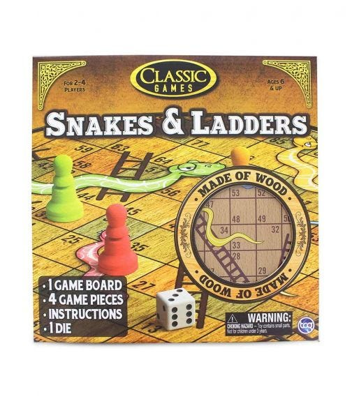 TCG Premium Wooden Snakes And Ladders