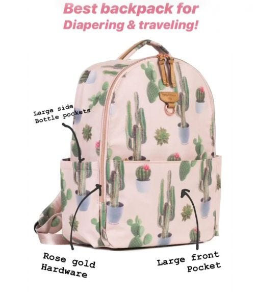 TWELVELITTLE On The Go Backpack With Laptop Sleeve Cactus