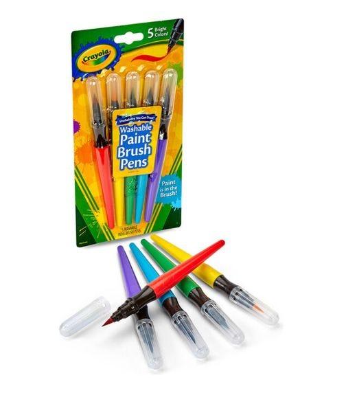 CRAYOLA 5 Crayon Set Washable No Drip Paint Brush Pens