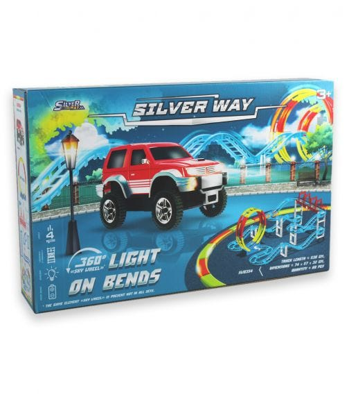 SILVER WAY Battery Operated Train Set Toy Glow In The Dark -2