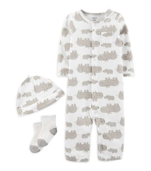 CARTER'S 3-Piece Hippo Take-Me-Home Converter Gown Set