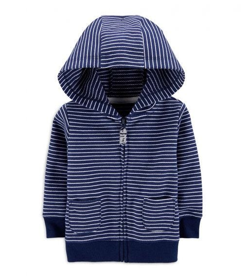 CARTER'S Striped Zip-Up French Terry Hoodie