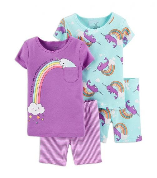 CARTER'S 4-Piece Narwhal Cotton PJs