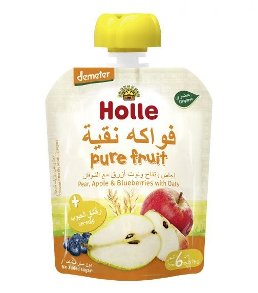 HOLLE Organic Pure Fruit Pouch Pear, Apple And Blueberry With Oats, 90G