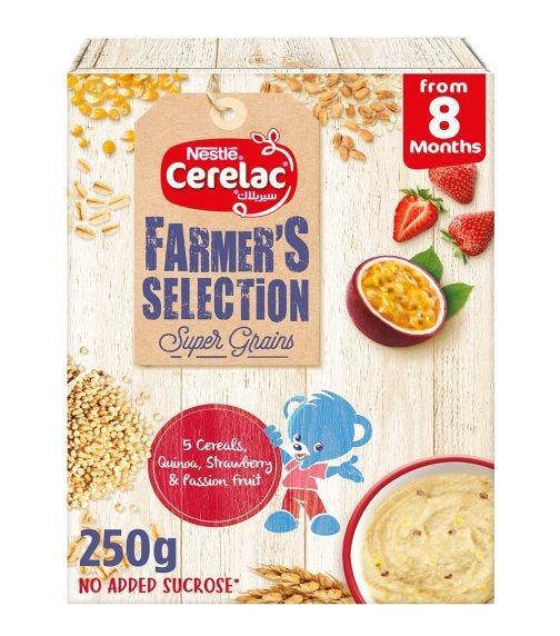 NESTLE Cerelac Farmer's Selection Bib 5 Cereals: Quinoa, Strawberry, Passion Fruits (8+ Months) - 250 G