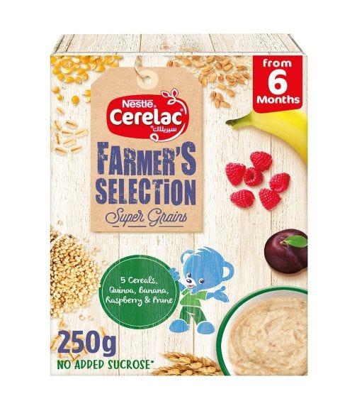 NESTLE Cerelac Farmer's Selection Bib 5 Cereals: Quinoa, Banana, Raspberry, Prune (6+ Months) - 250 G
