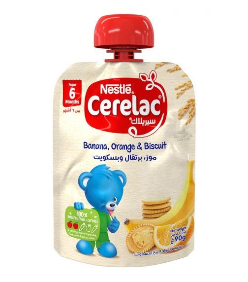 NESTLE Cerelac Fruits Puree Pouch Banana Orange Biscuit