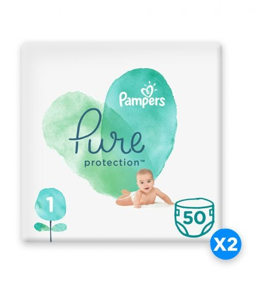 PAMPERS Pure Protection Diapers, Size 1