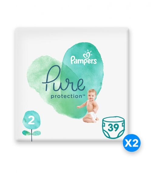 PAMPERS Pure Protection Diapers, Size 2
