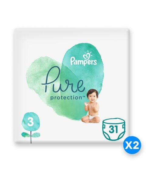 PAMPERS Pure Protection Diapers, Size 3