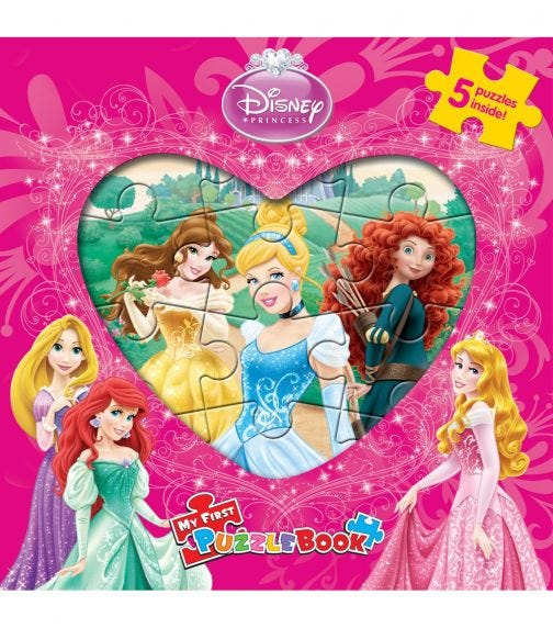 PHIDAL Disney Princess Heart Shaped 3 My First Puzzle Book